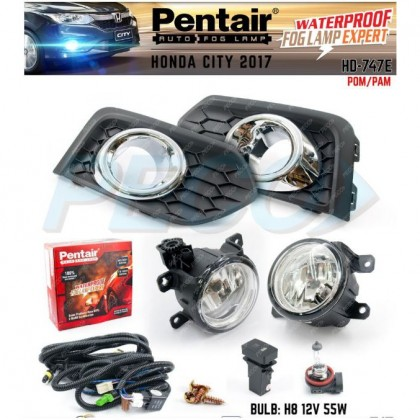 HD-747E H.CITY 2017Y CHROME FOG LAMP W/CABLE SWITCH (PENTAIR)