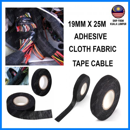 19MM X 25METER Adhesive Cloth Fabric Tape Cable Black Looms Wiring Harness (C-02)